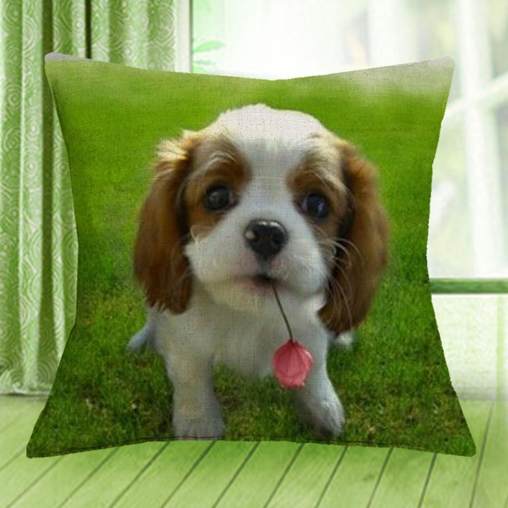 cavalier king charles spaniel cushion cover lovely puppy dog print
