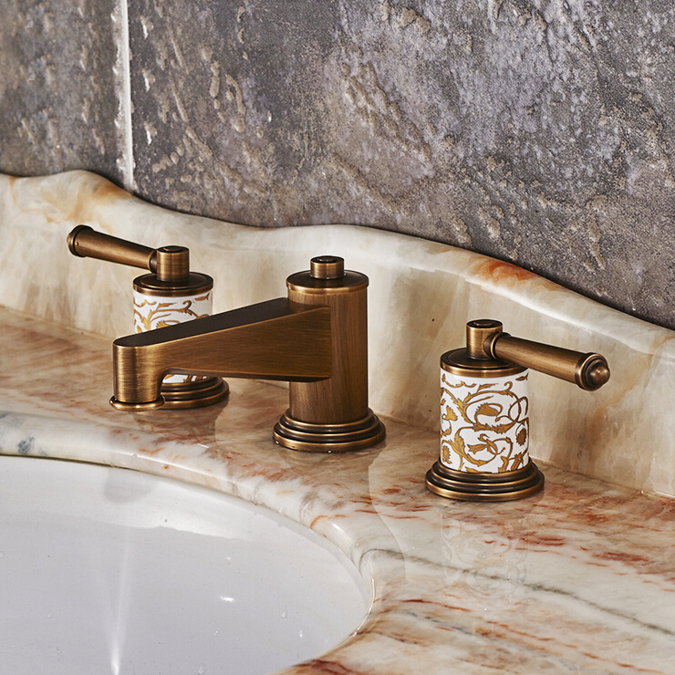 Deck Mounted Bronze Gold Rose 3 Colors Brass Material of High Quality Dual Handle Wash Basin TapDeck Mounted Bronze Gold Rose 3 Colors Brass Material of High Quality Dual Handle Wash Basin Tap