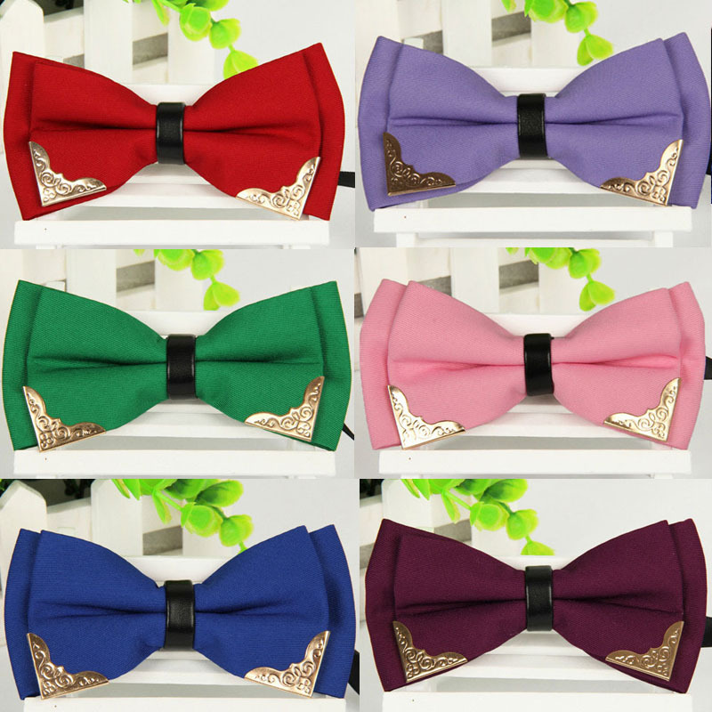 New Mens classic Adjustable Solid Neck Bowtie Mens fashion Mental Decorated polyester Bow Tie 2014 Male black Red White ties