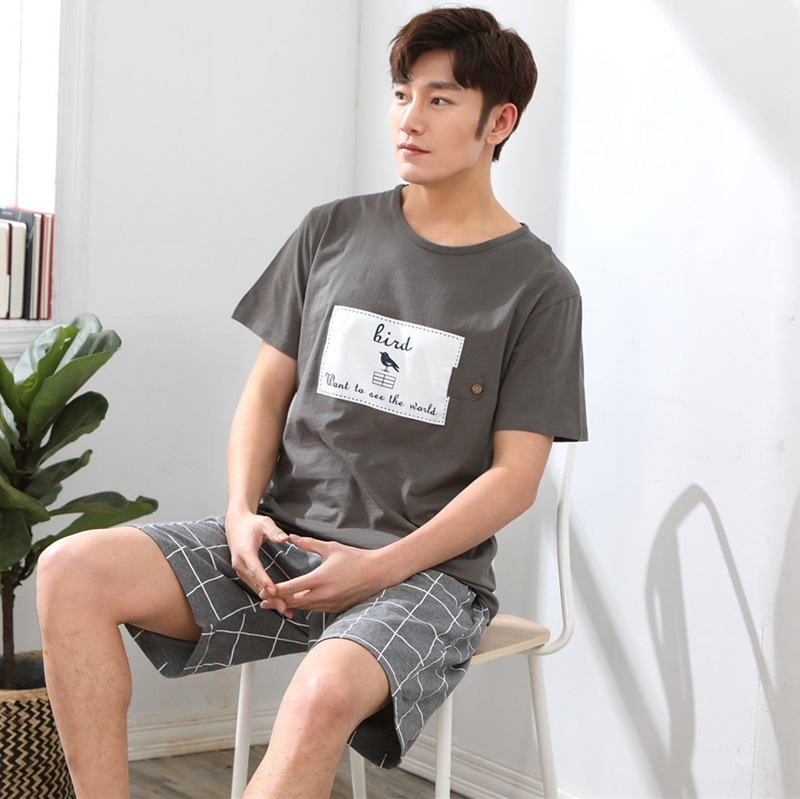 2019 Summer Short Sleeve Cotton Pajamas Sets For Men Plaid Pants Sleepwear Male Cute Cartoon Homewear Pijama Lounge Home Clothes
