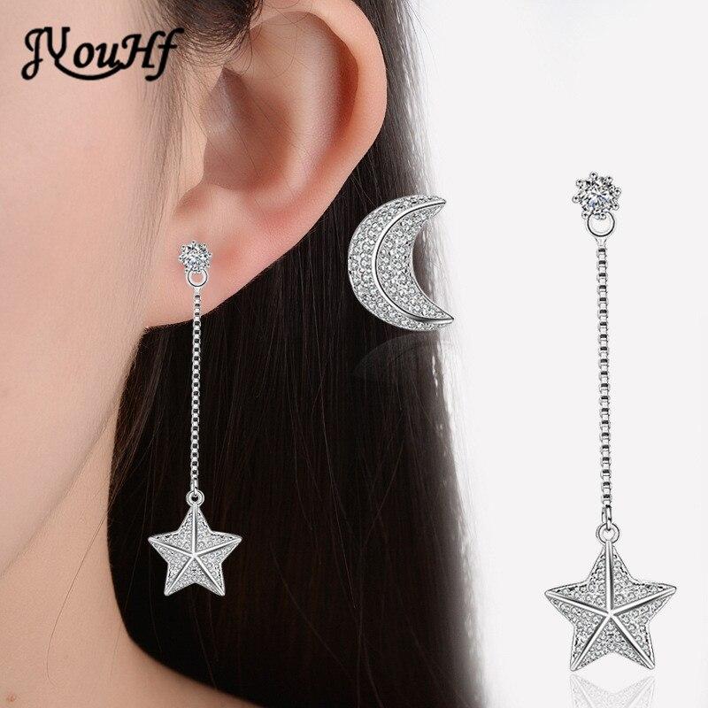 JYouHF 2017 New Fashion Star Moon Asymmetrical Stud Earrings White Rose Gold Color Paved Zirconia Pendant Pending Women Earrings