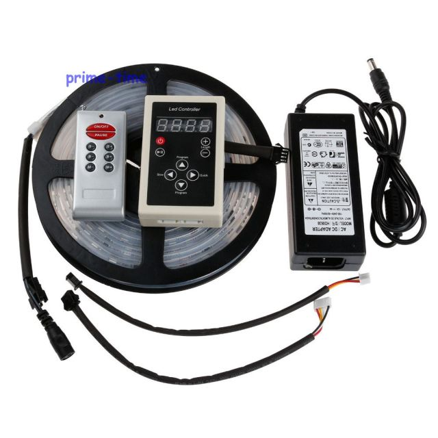 5M 6803 IC 30LED/M 5050 Digital Dream Color RGB LED Strip IP67 Waterproof 12V+ 133 Change RF Controller+12V 5A Power Supply