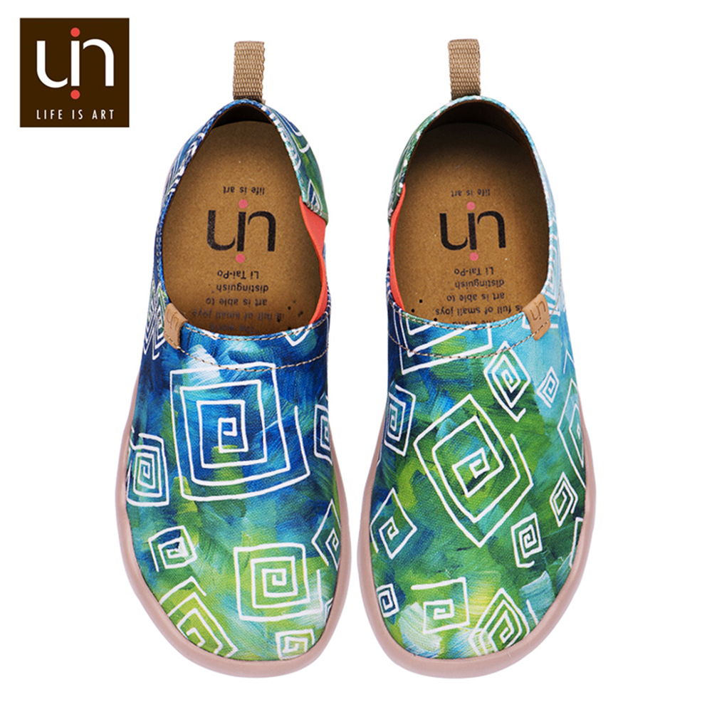 UIN Love in Spring Design Painted Canvas Loafer Shoes Women Green Casual Flats Ladies Sneakers-in Women's Flats from Shoes    1