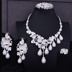 Image 5 - Budki Flor de lujo Bud mezclado mujeres circonia cúbico de boda collar pendiente Arabia Saudita conjunto de joyas adicciones a la joyería