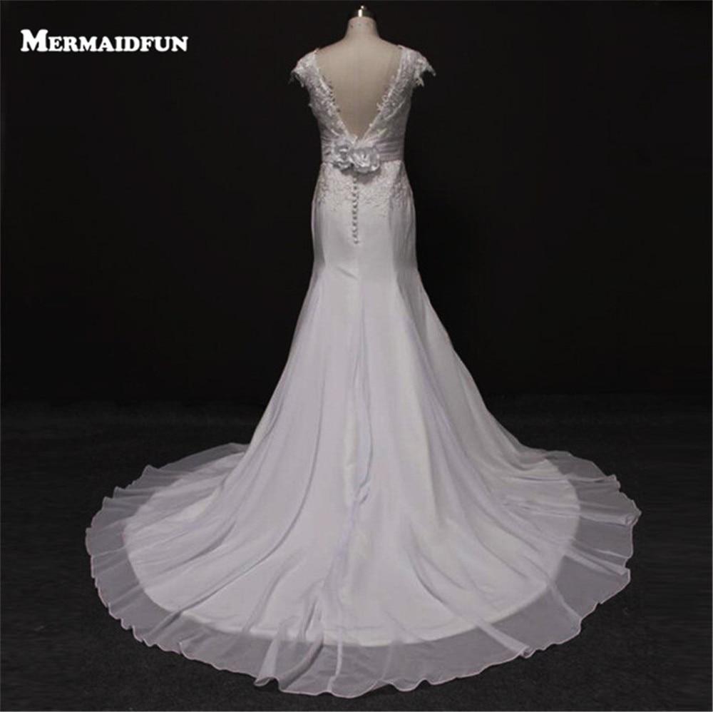 Bridess Lady Cap manches dos nu en mousseline de soie robe de mariée Court Train longueur de plancher trompette robes de mariée w6166