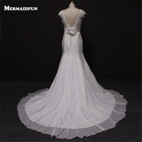 Bridess Lady S Cap Sleeves Backless Chiffon Wedding Dress Court Train Floor Length Trumpet Wedding Gowns