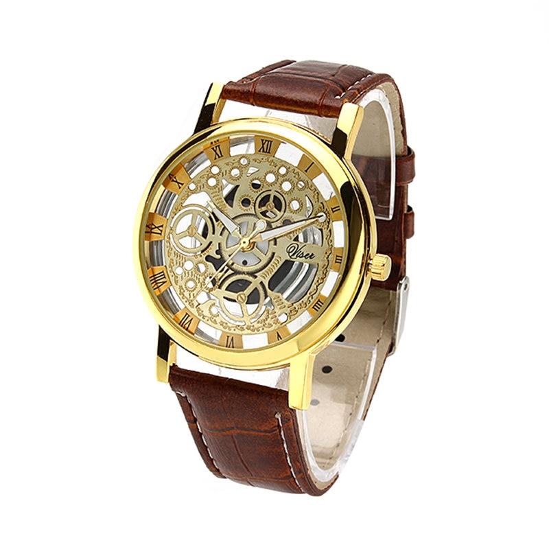 Hot selling mannen horloges top merk luxe imitatie mechanische horloges man PU lederen band quartz horloges relogio masculino