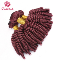 Beau Hair Peruvian Loose Wave Hair Bundles Burgundy Red Human Hair Weave Extensions 3 Pieces Non Remy Loose Curly Hair Weaving