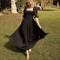 TEELYNN boho dresses for women vintage black cotton long sundress puff sleeve Dot jacquard fabric summer dresses Gypsy Vestido