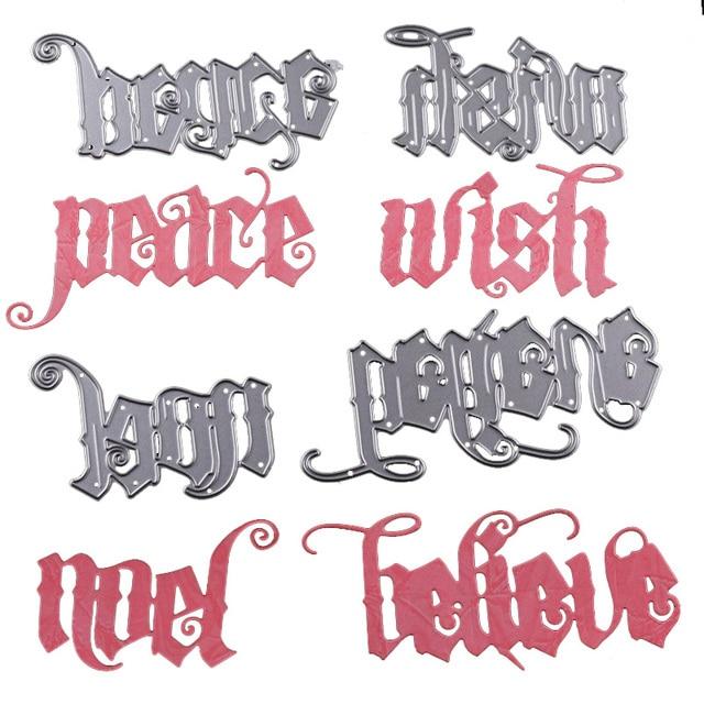 Alphabet Noel word die alphabet metal cutting dies 2018 wish peace noel believe