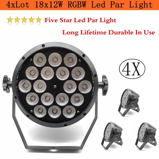 4xLot Sale 2018 18x12W RGBW Led Par Light DMX Stage Lights Business Lights Professional Flat Par Can for Party KTV Disco DJ Lamp