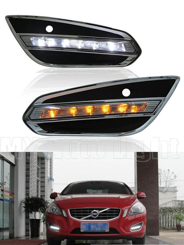 LED Daytime Running Lights For Volvo V60 S60 2009-2015 DRL Fog Lamp Front Bumper for opel astra h gtc 2005 15 h11 wiring harness sockets wire connector switch 2 fog lights drl front bumper 5d lens led lamp