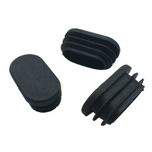 20pcs Oval Plastic Furniture Leg Plug Blanking End Caps Insert Plugs Bung For Round Pipe Tube 40 mm x 20mm Black(China)
