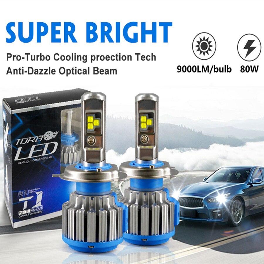 DIC Turbo LED H4 H7 alta baja haz 35 W 9000LM faro H1 H11 9005 HB3 9006 HB4 H13 H3 9007 HB5 880 H27 T1 niebla luz coche de estilo