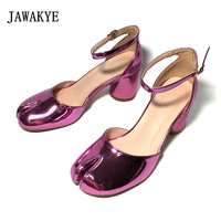 Spring New Style Split toe Chunky High Heels Dress Shoes Woman Pink Black Patent Leather Two pieces Middle heel lady Shoes