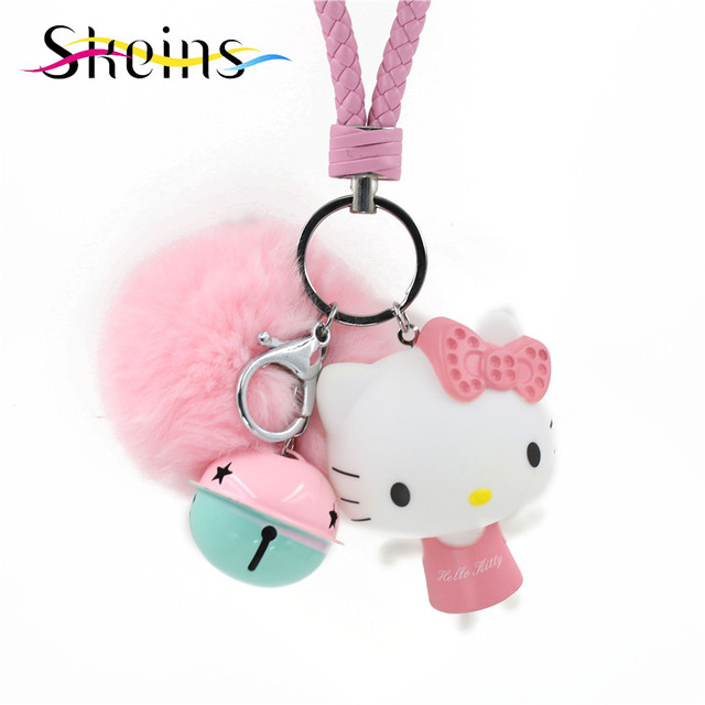 Skeins Jewelry Fur Pompom Lovely Lucky Charms Kitty Cat Keychain Deformed Anime Rabbit Fluffy Women