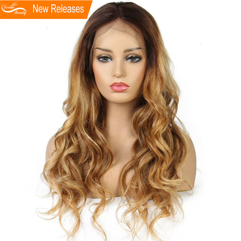 Ombre honey blond wavy Wig 180Density Lace Front Human Hair Wigs Pre Plucked Hair mixed 4
