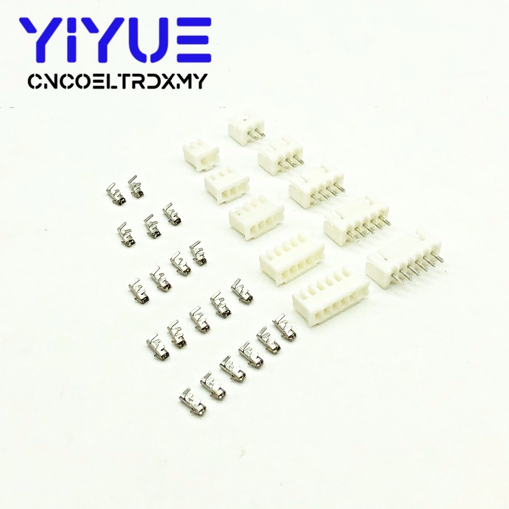 JST XH2.54 Wire Connector XH 2.54mm 180 Angle Straight Pin Header + Housing + Terminal For PCB Car 2/3/4/5/6/7/8/9/10/11/12-Pin