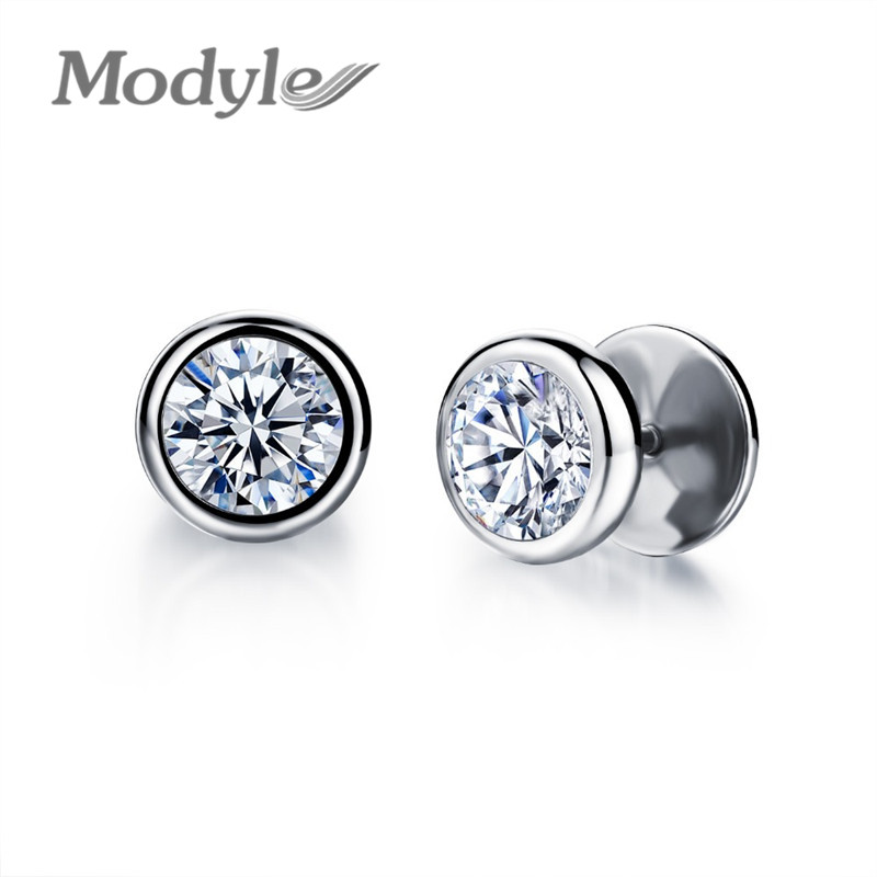 Modyle New Arrival Fashion Jewelry Delicate Stainless Steel Inlaid Cubic Zirconia Accessories Man Woman Stud Earrings In From