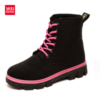 WeiDeng 2017 Winter Snow Ankle Boots Women Warm Fur Shoes Non Slip Wearable Martin Boots Lace