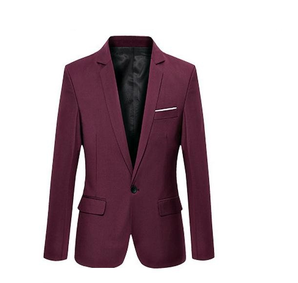 Red Wine Europe Young Men Leisure Suit 7XL 6XL A Buckle Business Casual Wild Slim Small Suit Jacket Korean England Small Suit