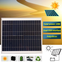 New 20W 18W Solar Panel Polycrystalline Double USB Portable Waterproof with Clip for Car Charging Outdoor Sports
