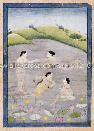 Anonym Wives Von Raga Hindola Schwimmen Indian Handgemalte Schwarz Und Rot  Wand Dekor Gemälde Stadtbilder