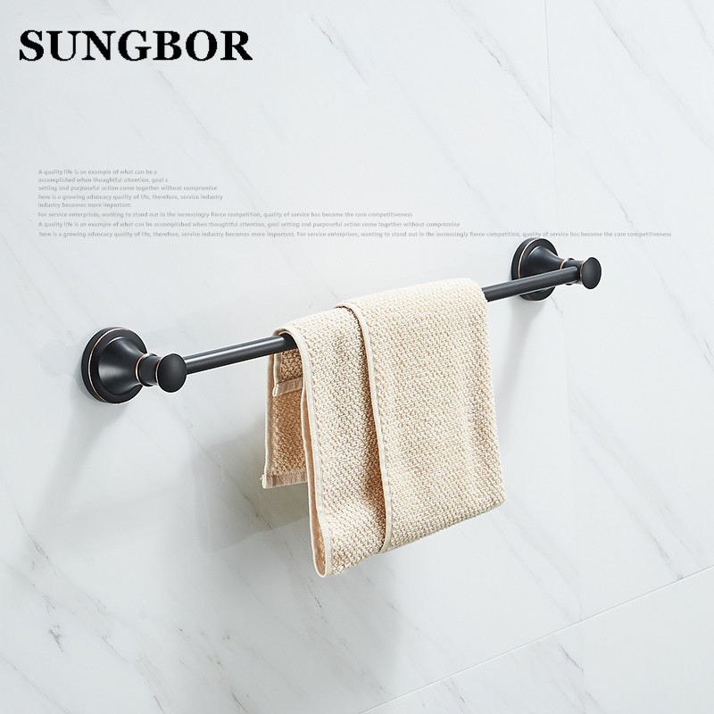 Single towel Bathroom Accessories Oil Rubbed Bronze Bath Double Towel Bars Towel Hanger Wall Mount Black Towel Holder PY-4710H free ship beauty oil rubbed bronze bath towel rings soild brass towel bracket