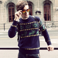Mens Sweater With Deer 2017 Winter New Arrival Reindeer Knitting Pattern Pullovers Crew Neck Free Shipping
