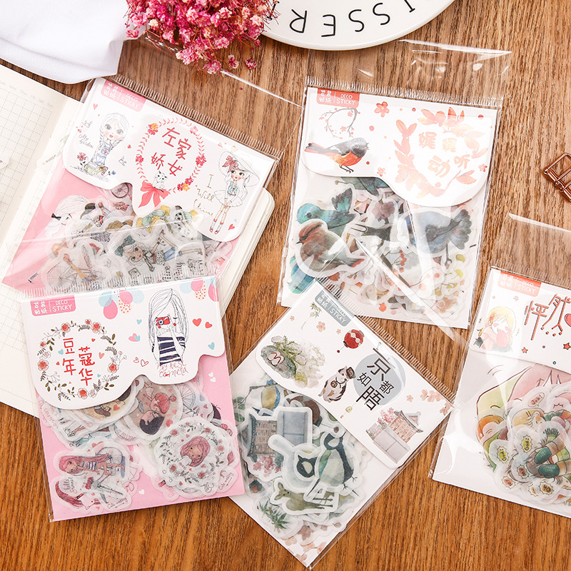 40 Pcs/bag Autumn Coming  Decoration Album Planner Stickers Scrapbooking Diary Sticky Paper Flakes