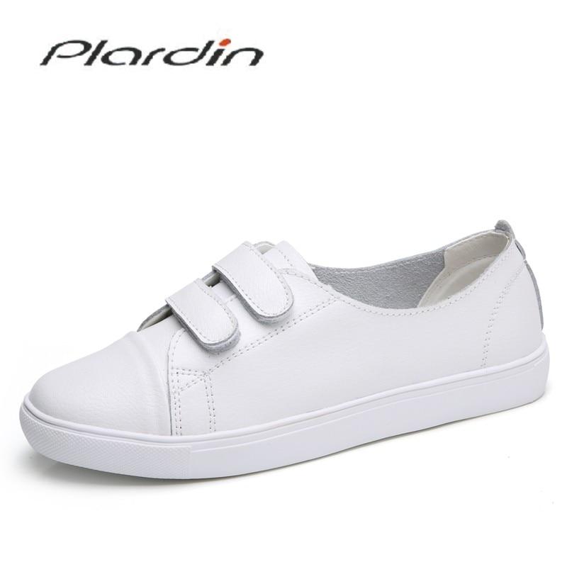 Plardin New Women Leisure Concise Fashion Comfortable Hook&Loop Shoes Woman   Leather   Flats Sneaker Women Light Shoes Ladies Shoes