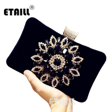 ETAILL Luxury Diamond Black Flannel Women Party Day Clutches Shoulder Bag Wedding Velvet Designer Brand Evening