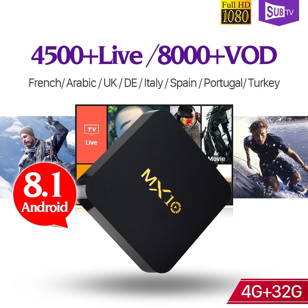 Boîte Décodeur SUBTV Android 8.1 IPTV MX10 4g 32g IPTV Code D'abonnement 4 k H.265 France Arabe 1 année Portugal Turquie IPTV