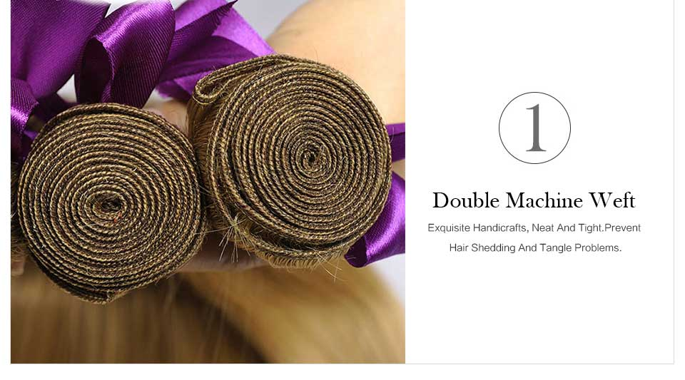 Brazilian Straight Blonde Hair Weave Bundle Beautiful Color 27# (6)