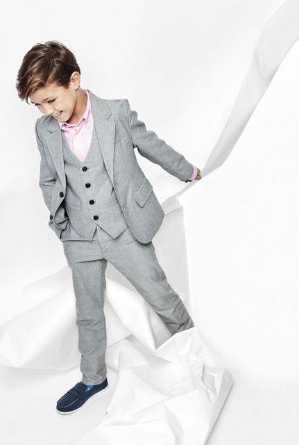 00ff5c382bdef Jasnoszary wycięcie klapy dwa przyciski moda dla dzieci garnitury kostium  Homme smokingi ślub Party Prom Blazer