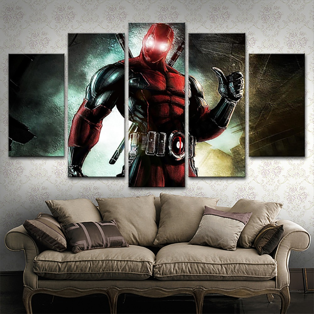 Modular Pictures Wall Art Decorative Framework 5 Pieces Movie Deadpool Characters Poster Canvas Paintings Modern Artworks