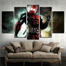 Modular Pictures Wall Art Decorative Framework 5 Pieces Movie Deadpool Characters Poster Canvas Paintings Modern Artworks цена