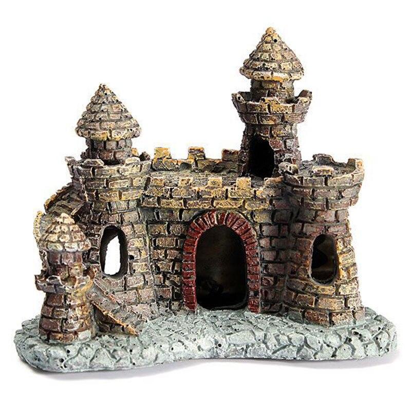 Полимерная башня с замком, аквариумные украшения, аквариумные украшения, мини подводная лодка, ландшафтное украшение