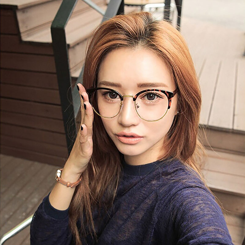 7618a39c8368 SHELI Retro Cat Eye Glasses Frame Fashion Women Half Frame Eyeglasses With  Myopia Lens Vintage Men Optical Frame 977