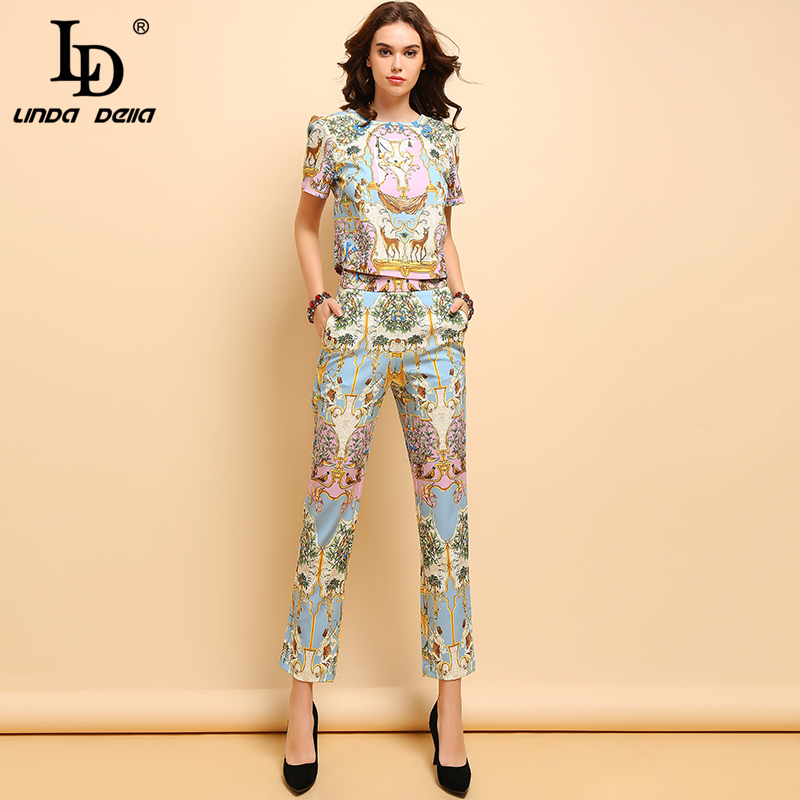 LD LINDA DELLA 2019 Summer Fashion Suits Women's Casual Short Sleeve T-shirt And Elegant Animal Printe Long Pants Two Pieces Set