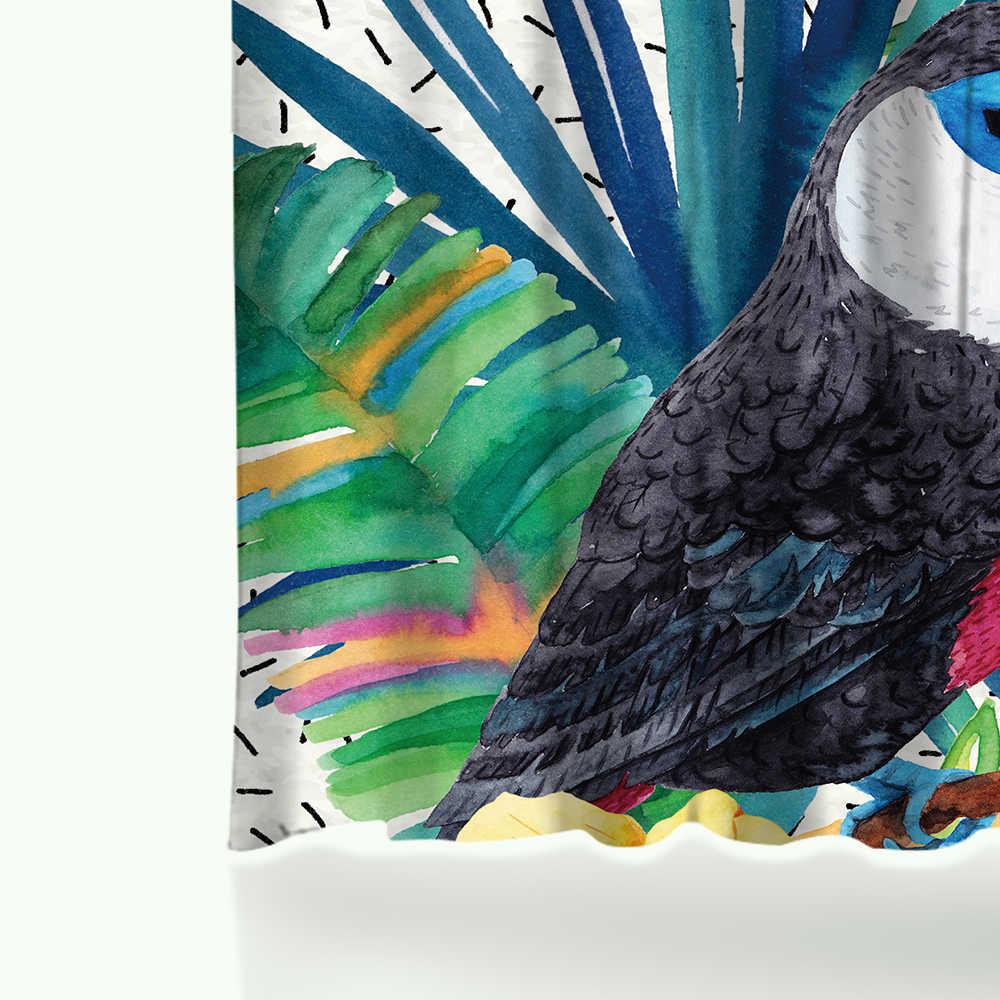 Miracille الاستوائية الزهور والطيور حمام الستائر مقاوم للماء البوليستر النسيج دش الستار اكسسوارات الحمام ديكور المنزل