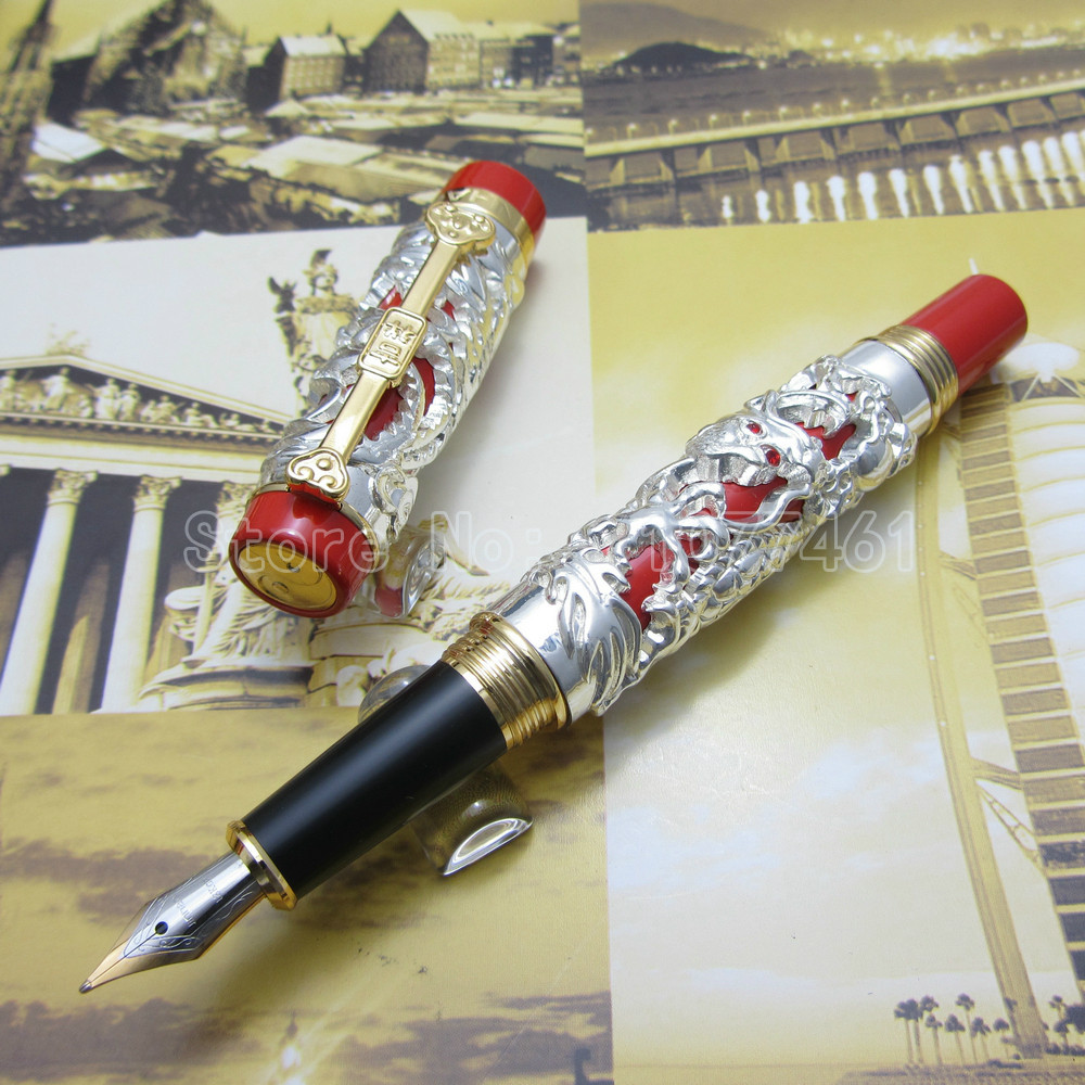 JINHAO High quality Carving Dragon and Phoenix Lucky Clip Fountain Pen Silver Red White Red Silver Black Optional JU5585SJINHAO High quality Carving Dragon and Phoenix Lucky Clip Fountain Pen Silver Red White Red Silver Black Optional JU5585S