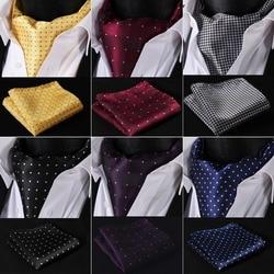 Men Ascot Polka Dot Floral Wedding Party  Formal Cravat Ascots silk Self British style Gentleman Neck Tie Luxury #B3