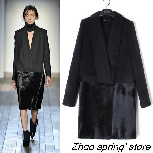2016 vente directe précipitée Bayan Kaban manteaux grands noms européens de coutures en cuir simples, manteau en tissu cachemire femmes