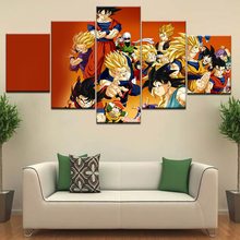 Vegeta Gohan Buu Son Goku Trunks Videl Dragon Ball Z Poster 5 Panel HD Print Canvas Art Painting For home living room decor
