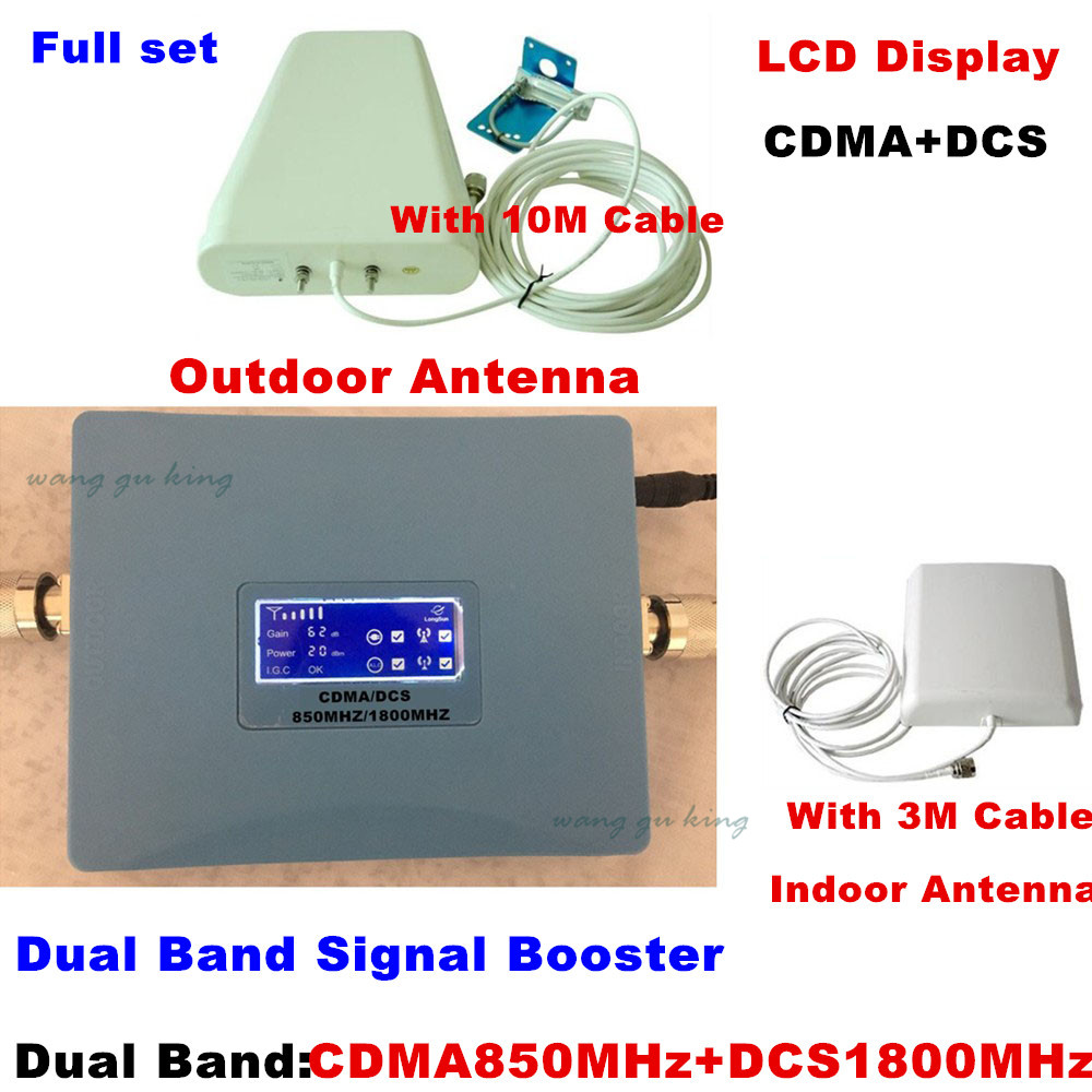 LCD display Newest CDMA 850MHz + DCS 1800MHz dual band signal booster gsm repeater gsm 850 dcs 1800 Amplifier booster full setLCD display Newest CDMA 850MHz + DCS 1800MHz dual band signal booster gsm repeater gsm 850 dcs 1800 Amplifier booster full set