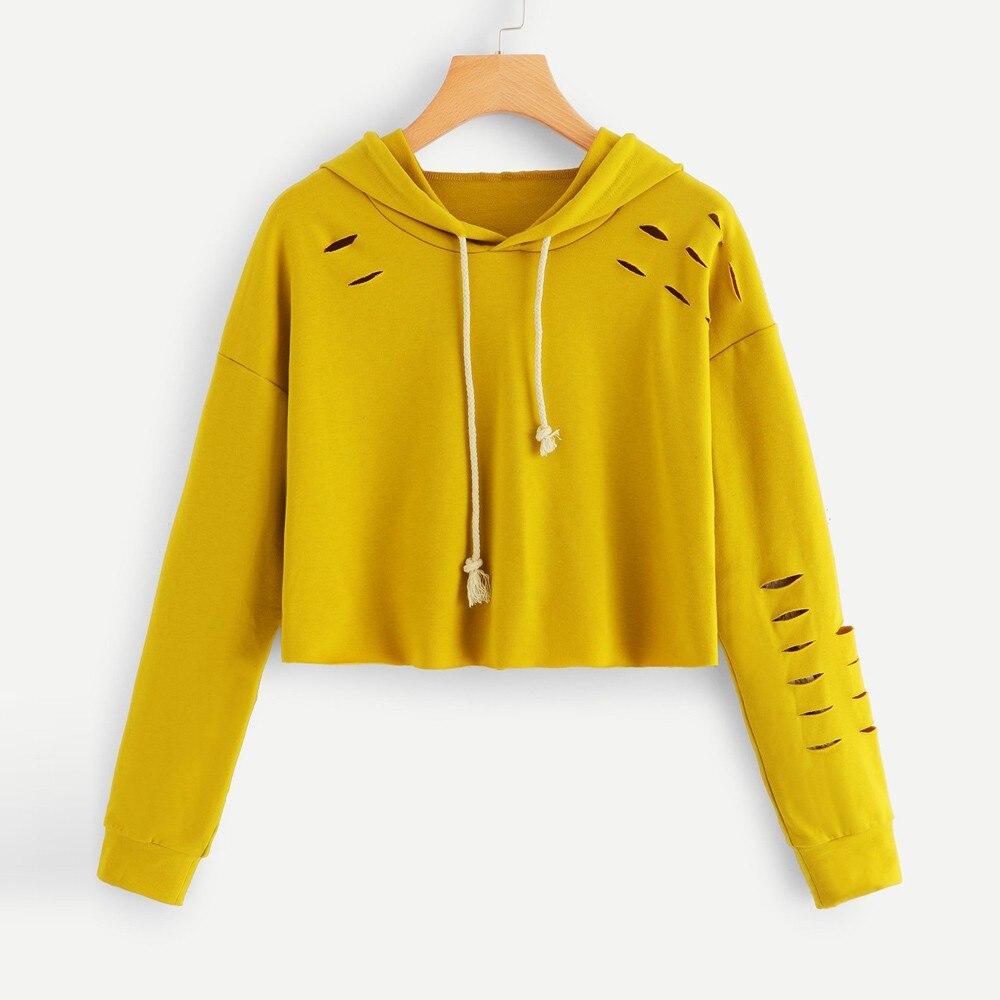 Sweat-shirt à manches longues à manches longues et à capuche pour femmes, pull jaune Tops automne t-shirt femme camiseta mujer # es5 comme décrit dans cette catégorie