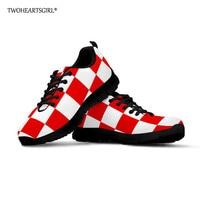 Twoheartsgirl Croatia Men Casual Shoes Flag of Croatia Sneakers Men Flat Outdoor Sneakers Mesh Breathable Walking Footwear Shoes