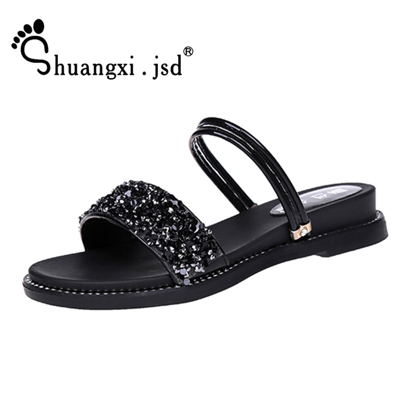 Shuangxi.jsd Sandals Woman 2018 Summer Open toe Multifunction Women Shoes Shallow Mouth Sequins Beach Sandals Sandalia feminina summer rhinestone sequins women sandals fashion string bead chunky heels leisure open toe outwear black beige sandalia feminina
