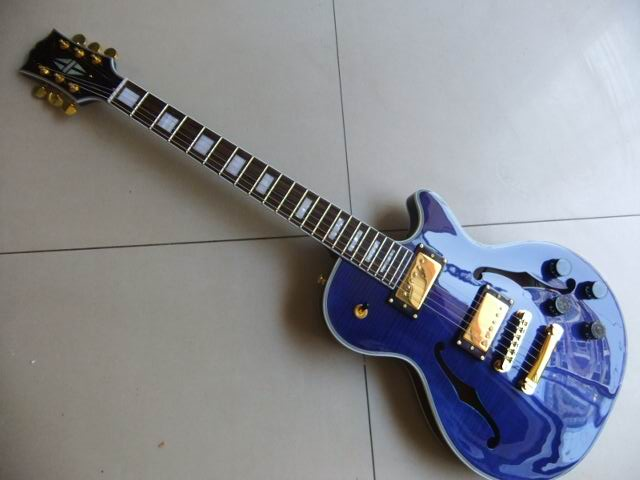 Wholesale G Cnbald Custom Shop Guitar Small Jazz Electric Guitar Semi Hollow In Blue Burst 110820 new arrival g custom l5 jazz guitar ces archtop semi hollow electric guitar orange color in stock free shipping